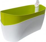 Plastia truhlík samozavlažovací Doppio - světle zelená + bílá 38 cm