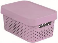 box úložný INFINITY děrovaný 26,8x18,6x12,4cm s víkem, plastový, RŮŽ