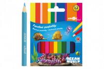Pastelky barevné dřevo krátké Ocean World šestihranné