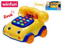Telefonek 16 cm naučný žluto-modrý 2 funkce na baterie se světlem a zvukem