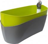 Plastia truhlík samozavlažovací Doppio - světá zelená + světlý anthracite  38 cm
