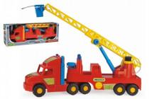 Auto Super Truck návěs hasiči žebřík stříkací vodu plast 77cm v krabici Wader