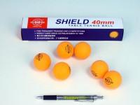 Míčky na stolní tenis SHIELD 4cm bezešvé oranžové
