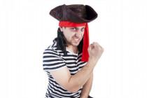 Klobouk pirát s vlasy karneval