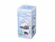 Svíčka ZIMA HRANOL vánoční 7x7x14cm