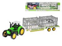 Traktor s vlečkou 50 cm na setrvačník se zvířátky v kleci 2 ks - mix barev