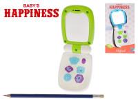 Telefon 17x6,5 cm se zrcátkem na baterie se světlem a zvukem Baby´s Happiness - mix barev