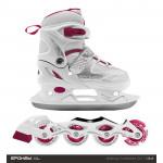 Spokey DUE 2IN1 Brusle bílo-růžové, regulovatelné, vel. 30-33