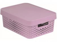 box úložný INFINITY děrovaný 36,3x27x13,8cm s víkem, plastový, RŮŽ