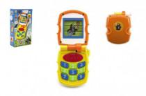 Krtkův mobil telefon měnící obrázky Krtek žlutý plast se světlem a se zvukem v krab. 6m+