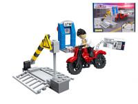 EDUKIE stavebnice přejezd se závorou a motorkou 69 ks + 1 figurka