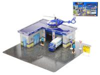 Policejní puzzle stanice 38 ks - vozidla 2 ks kov 11-17 cm volný chod s doplňky