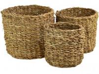 košík kulatý střední pr.21x18cm mořská tráva