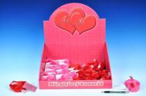 Srdíčko plyšové 8x6 cm s přáníčkem - mix barev