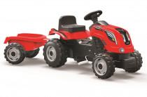 Šlapací traktor Farmer XL červený s vozíkem