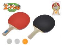 Sada na stolní tenis 2-Play pálky dřevěné 25 cm 2 ks + míčky 3 ks se síťkou