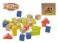 Kostky dřevěné 50 ks 2-Play v kbelíku