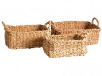 košík hranatý s úchyty střední 32x23x13cm mořská tráva
