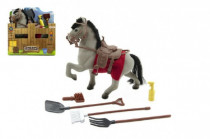 Kůň s doplňky šedý fliška 15cm