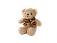 Medvěd plyšový 17 cm sedící se šálou