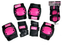 Chrániče větší 6 ks růžovo-černé