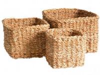 košík hranatý vysoký střední 22x22x17cm mořská tráva