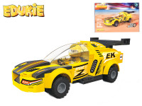 EDUKIE stavebnice auto závodní žluté na zpětný chod 118 ks + 1 figurka