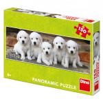 Puzzle pět štěňátek panoramic 66x23cm 150 dílků