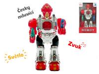 Robot česky mluvící 23 cm chodící na baterie se světlem a zvukem