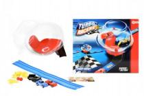 Dráha závodní+2 auta plast s doplňky v boxu 29cm