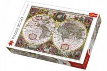 Puzzle Mapa Světa rok 1630 2000 dílků 96x68cm