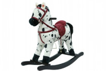 Kůň houpací bíločerný plyš na baterie 71cm se zvukem a pohybem nosnost 50kg