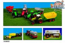 Traktor kovový s přívěsem se světlem a zvukem - mix variant či barev