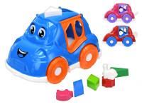 Auto/vkládačka 25,5 cm 2 v1 geometrické tvary a zvířátka - mix barev