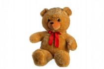 Medvěd plyš 100cm s mašlí světle hnědý hladký