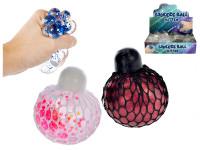 Míček síťkový strečový 6 cm s glitry - mix barev