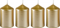 Svíčka adventní 40x60 mm - metalická bílé zlato - 4 ks