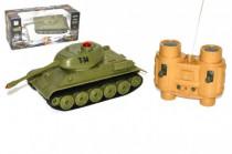 Tank RC plast 22cm T34 27MHz na baterie+dobíjecí pack se zvukem a světlem