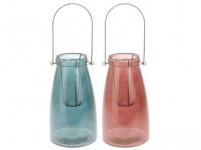 lucerna na svíčku 15x26,5cm sklo+kov - mix barev