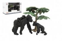 Zvířátka safari ZOO 8cm sada plast 3ks gorila 2 druhy