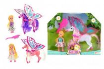 Kůň 27cm s křídly a hřebenem česací + panenka 15cm plast - mix barev