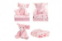 Sada slon plyš + deka růžový v blistru