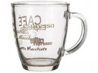 hrnek 360ml LUCCA skleněný, dekor káva II