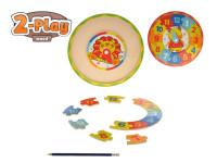 Hodiny dřevěné puzzle 2-Play 25x25x1,5 cm - mix variant či barev