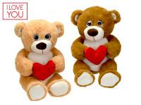 Medvídek plyšový 45 cm sedící se srdíčkem - mix barev