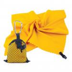 Spokey NEMO Rychleschnoucí ručník 40x40 cm, žlutý s karabinouu