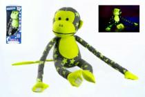 Opice svítící ve tmě plyš 45x14cm šedá/žlutá