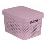 box úložný INFINITY děrovaný 36,3x27x22,2cm s víkem, plastový, RŮŽ