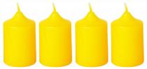 Svíčka adventní 40x60 mm - žlutá - 4 ks