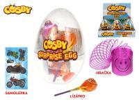 Cosby Crystal egg 12 cm - lízátko,hračka a samolepka - 12 ks - mix variant či barev